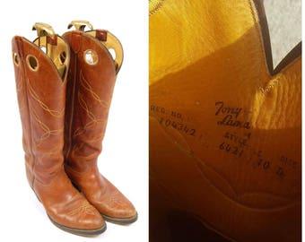 Vintage Tony Lama Cowboy Boots - Size 10D -  1970s Tony Lama Boots