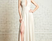 "Silk Twill Bridal Gown with key hole bodice and cut out back, the ""Lincoln"" CUT TO ORDER"