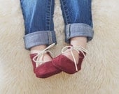 NEW Suede Leather Tie Moccasins for babies and toddlers