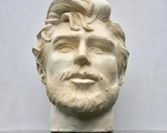 Ceramic portrait bust of a man, head of Robert Pattinson, classical sculpture, twilight celebrity fan art