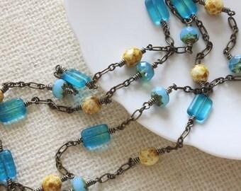 Long Necklace, Czech Glass Beads, Summer Necklace, Beach Necklace, Wire Wrapped Long Necklace