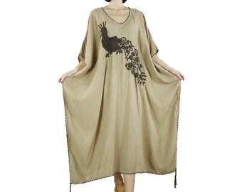 Bohemian Handmade Crochet Trim & Tassel V Neck Light Brown Beige Light Cotton Kaftan Dress With Peacock Embroidery Women Oversize Dress