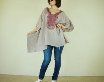 Oversize Sand Color Double Gauze Cotton Dolman Poncho Women Top Caftan Blouse With Red Hand Embroidered Detail