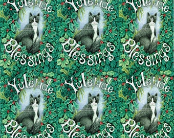 Set of six  Black and White Cat Yule Christmas cards Pagan familiar