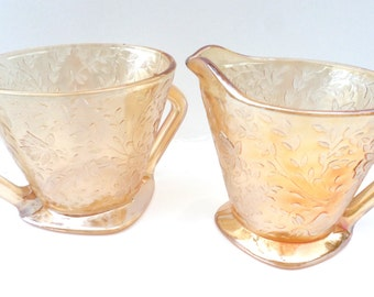 Gold Sugar and Creamer Set Vintage Gold Floral Cut Glass Sugar and Creamer Set