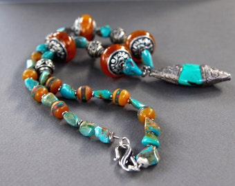 Turquoise and Tibetan Copal Necklace Tibetan Turquoise Pendant w Southwest Turquoise Nuggets and Amber Copal Resin Gemstone Jewelry