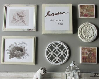 wall art collage - Home Nest - a 7 piece arrangement - farmhouse wall decor -home decor