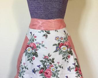 Vintage 1950s Reversible Pink Floral Pocket Apron NOS