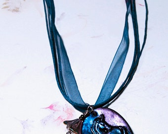 Unicorn Dreams- handmade necklace- artisan necklace- OOAK pendant necklace- unicorn necklace- clay pendant necklace- gift for her