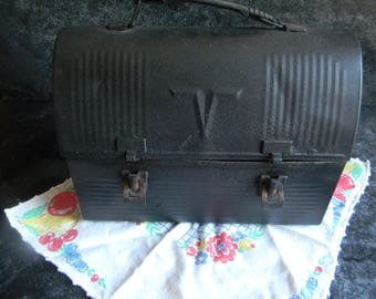 Vintage black metal work lunchbox, farmhouse chic decor, kitchen decor Fathers day gift Mothers Day