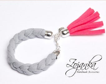 TASSEL bracelet, cotton  bracelet, summer accessories, braided bracelet upcycled jersey, gray bracelet with tassel