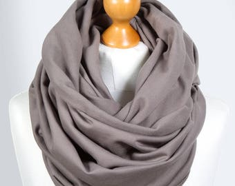 JERSEY infinity scarf in TAUPE colour , infinity scarves by ZOJANKA, taupe infinity scarf, autumn fashion, gift ideas for her, winter scarf