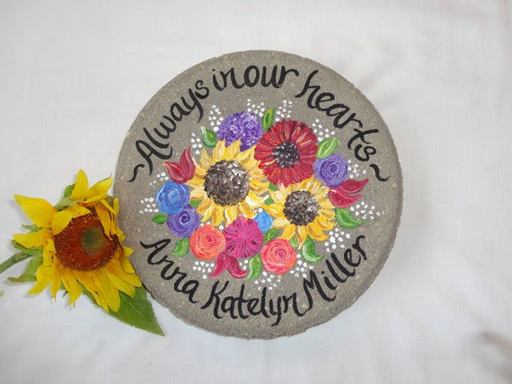Memorial gift hand painted stepping stone memorial garden - Hand painted garden stones ...