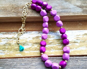 Purple Beaded Necklace Wood Bead Necklace Simple Beaded Necklace Gift Under 20 Teenage Girl Gift Anniversary Gift for Her Sweet 16 Ideas