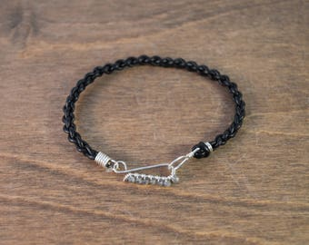 Leather Hook Bracelet - 925 Sterling Silver, with Labradorite, and Black Leather - Men's & Women's Sizes