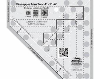 Mini Pineapple Trim Tool - Small Pineapple Quilt Ruler - Creative Grids Quilting Tool - CGRJAW3MINI - Non-Slip Ruler