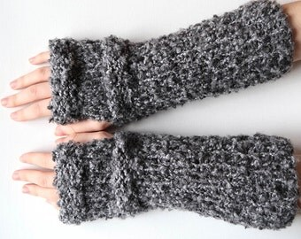 Matching Fingerless Gloves Knitted Chunky Wristlets Outlander Inspired Gray Color