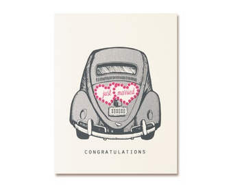 Wedding Card - Just Married Car