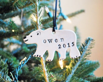 SALE: Polar Bear Ornament, Personalized, Ceramic, Pottery, Handmade - Customized Ornament - Christmas Tree Ornament - Lauren Sumner Pottery