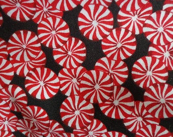 Peppermint Candy Fabric, Christmas Themed, One Yard Plus 35 Inches