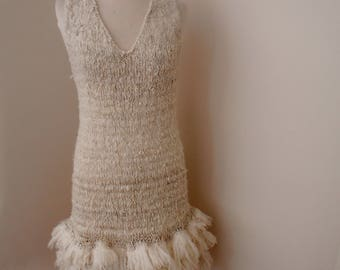 hand knitted dress, off white natural ultrafine merino wool dress, unconventional knitted wedding dress, boho knitted wedding dress