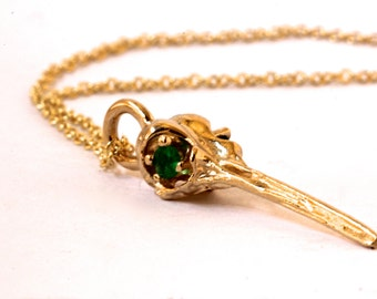 Solid Gold Hummingbird Skull Necklace  Emerald eyed Bird skull jewelry