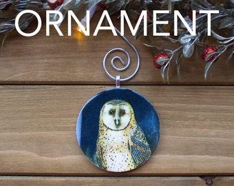 Owl Ornament, Christmas Tree Decoration, Tree Ornament, Vintage Ornament, Owl Gift, Christmas Gift, Stocking Stuffer, Free Shipping