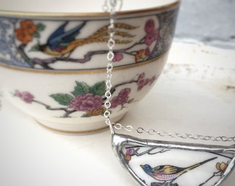 Vintage broken china bird necklace