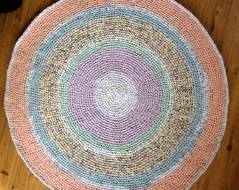 "43"" Diameter Crocheted Rag Rug,  Crocheted Rag Rug,  Handmade Rug, Kitchen Rug, Home and Living, Floor & Rugs, Rugs, Home Decor, Nursery"