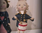 REserved  Uncle Sam   - papier mache- folk art- handmade art doll- folk art-Americana