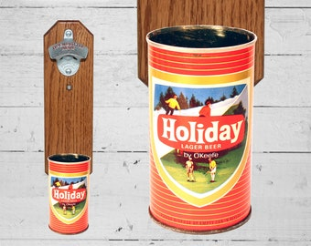 Beer Gift Wall Mounted Bottle Opener with Vintage Holiday Beer Can Cap Catcher - Christmas Gift for Guy