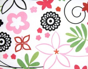 Brother and Sister Design White and Hot Pink Floral Fabric  - 1 yard piece