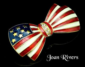 Beautiful Joan Rivers Bow Brooch Red White and Blue American Flag Pin