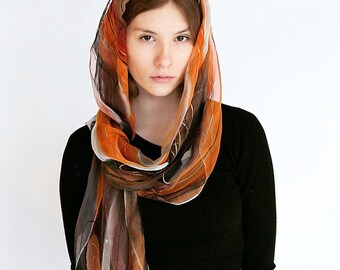 Orange black red white hand painted silk scarf, absract gutta lines. Passionate silk wrap in shades of flames one-of-the-kind gift for her
