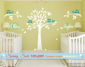 Owls Wall Decal, Owls and Tree Wall Decal for Twins Nursery, Tree with Owls Wall Sticker, Personalized Custom Name and Initial Wall Decal