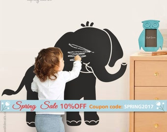 Chalkboard  Elephant Wall Decal, Elephant Chalk Board Vinyl Wall Decal Christmas Gift, Elephant Chalkboard Decals Chalkboard Wall Stickers