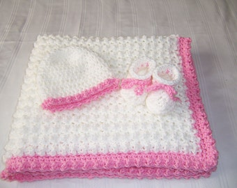 Crochet baby blanket set,  baby girl,  baby shower gift, newborn baby gift, hat and booties, white, pink