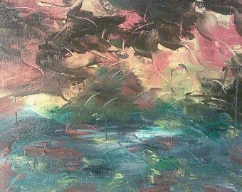 """Original Intuitive Abstract Palette Knife Oil Painting 9"""" x 12"""""""
