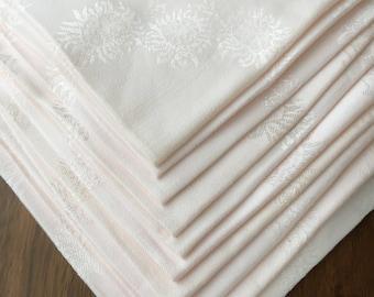 Set of Ten Floral Design Pale Pink Vintage Napkins