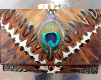 Peacock feather wallet VINTAGE ASIAN billfold