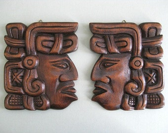 Tribal Indian Decor Hand Carved Wood Head Wood Face Primitive Indian Face Sculpture Carved Face Carved Head Wooden Head Wooden Face Tiki