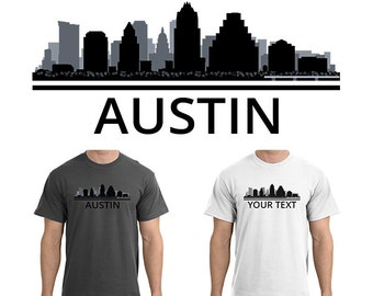 Austin cityscape etsy for Custom t shirts austin texas