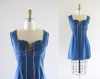 S A L E corset denim mini dress