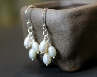 Pearl Silver Cluster Earrings