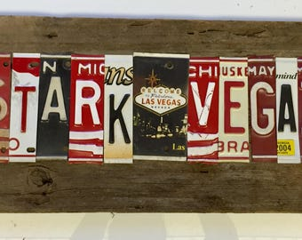 STARKVEGAS stark vegas license plate sign tomboyART art recycled upcycled tomboyART tomboy art hail state bulldogs dawgs dawgz