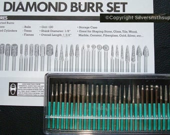 30 diamond drill bits and shaping tips 120 grit fine Silversmith drills, Drill or shape glass, stone, metal, wood