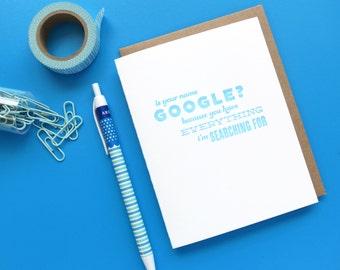 google pick-up line letterpress card