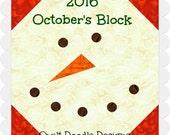 Tis The Season Quilt Doodle Designs October's Block 2016