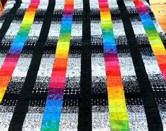 KIng or Queen Quilt, Machine Pieced and Machine Quilted in Shades of Black and White Sandwiched Between Rainbow Runs of Color