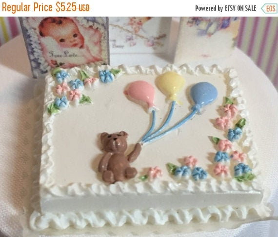 SALE Dollhouse Miniature Baby Cake With White Frosting, Teddy Bear and Balloons Miniature 1:12 Scale Perfect Miniature Food